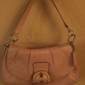 Peach Pink Coach  Leather Shoulder Bag